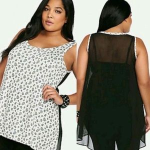 Torrid • Skull Sheer Back Hi Lo Tank Top
